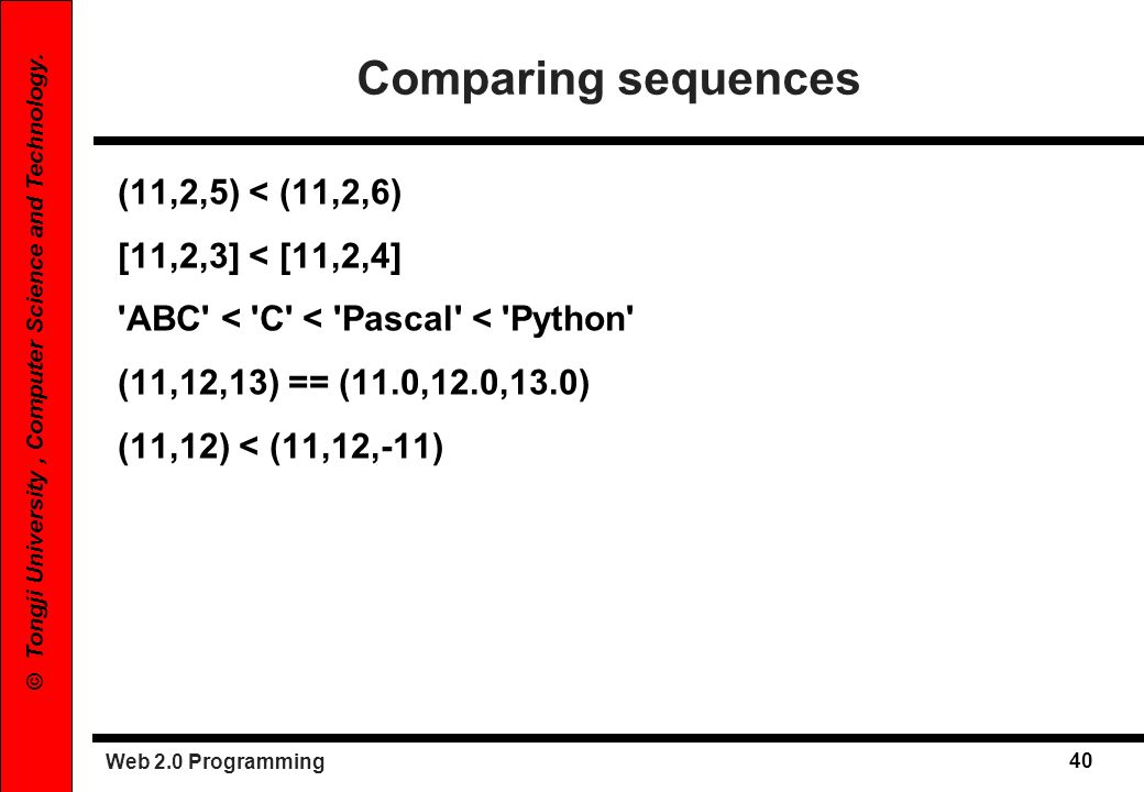 Comparing sequences (11,2,5) < (11,2,6) [11,2,3] < [11,2,4]